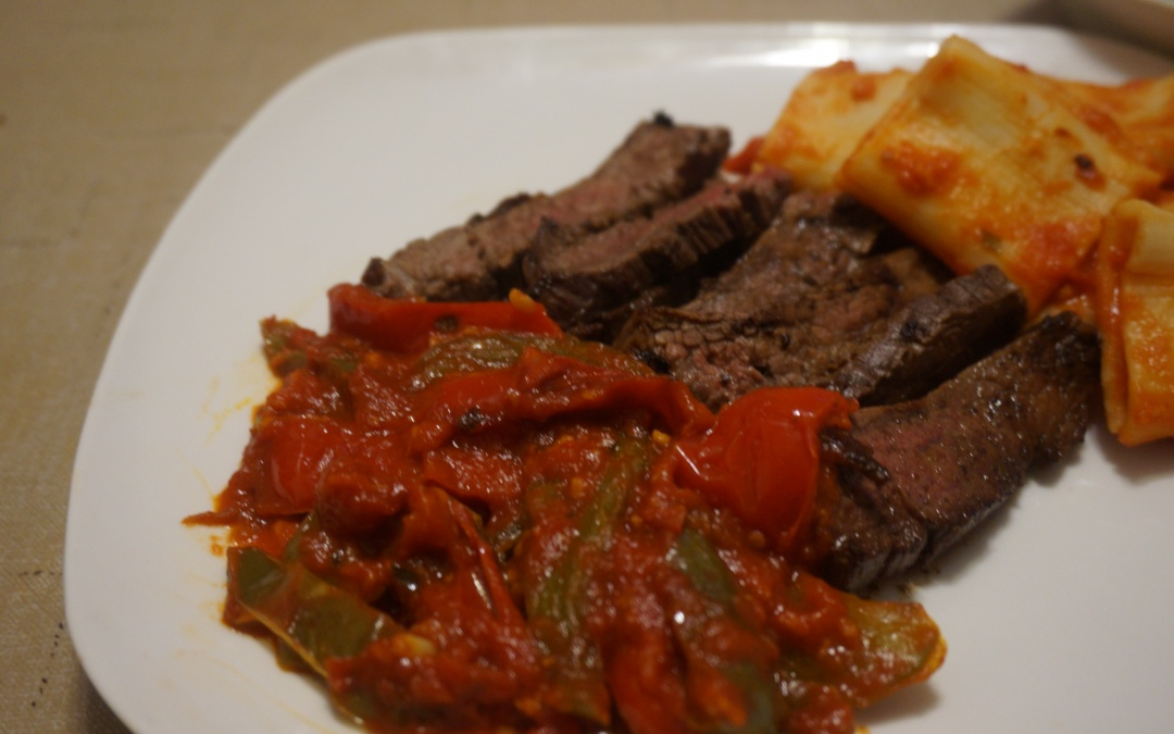 Seared Skirt Steak with Peppers