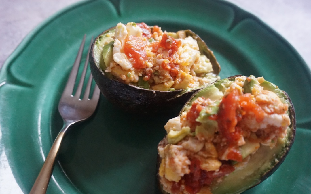 Stuffed Avocado With Egg And Tomato Basil