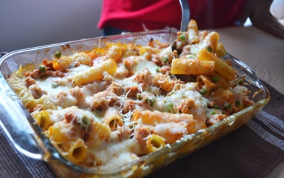 Baked Rigatoni with Italian Sausage and Peas